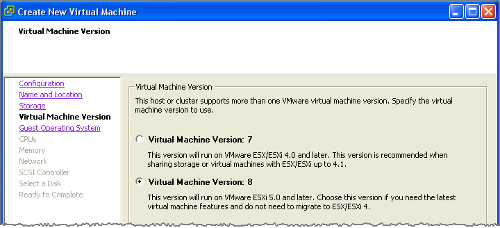 Creating a New Virtual Machine on the VMware ESXi Server