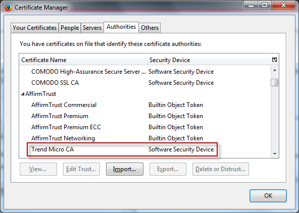 Trend Micro Certificate Authority is Not Installed in Firefox Browser